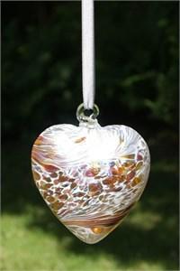 Gold Glass Heart, 8 cm