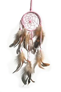 3 Strands Dream Catcher, pink - natural feathers