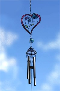 Heart  Wind Chime with Butterflies & Flowers