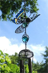 Turquoise Butterfly Wind Chime
