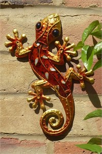 Decorated Orange Glass Gecko, 21 cm