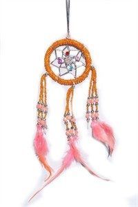 Beaded Dream Catcher, tangerine (6.25 cm)