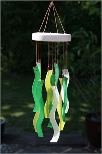 Wavy Glass Wind Chime, Birch Wood