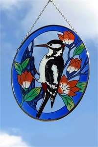Oval Glass Suncatcher with Woodpecker
