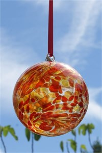 Red-Yellow Glass Ball, 12 cm