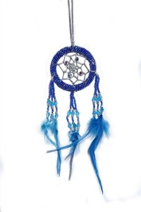 Beaded Dream Catcher, blue (6.25 cm)