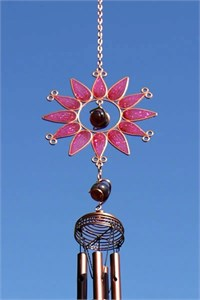 Sunflower Wind Chime, small pink
