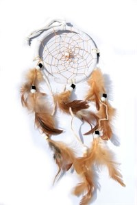 3 Strands Dream Catcher, white - natural feathers
