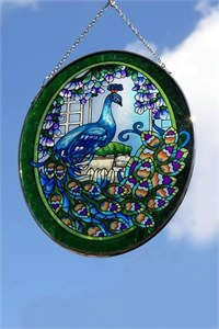 Oval Glass Suncatcher with Peacock