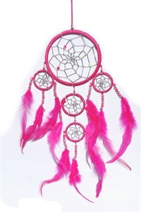 Dream Catcher with Silver Beads, pink  (11.5 cm)