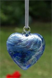 Blue Glass Heart, 8 cm