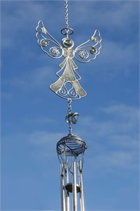 Silver Angel with Flowers Wind Chime
