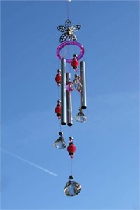 Filigree Flower Wind Chime, pink