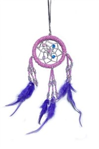 Beaded Dream Catcher, purple (6.25 cm)