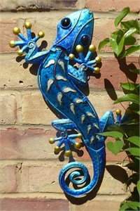 Decorated Blue Glass Gecko, 39 cm