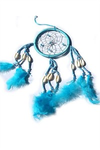 Dream Catcher with Shells and Beads, turquoise