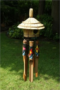 Sendai Bamboo Wind Chime with Oriental Flowers