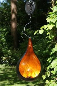 Orange Teardrop Solar Lantern