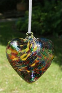 Multi-Turquoise Glass Heart, 12 cm