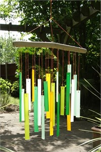 Rectangles Glass Wind Chime, Birch Wood