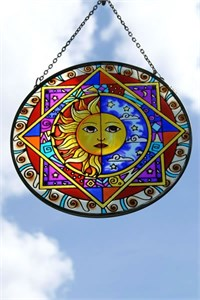 Glass Suncatcher with Sun and Moon