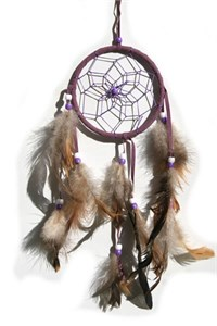 3 Strands Dream Catcher, purple - natural feathers