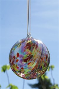 Humming Bird Feathers Glass Ball, 10 cm