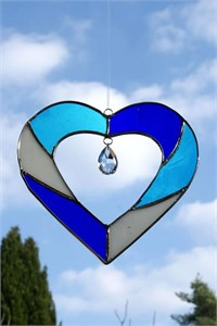 Blue Heart Glass Suncatcher with Crystal
