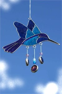 Hummingbird Suncatcher, blue