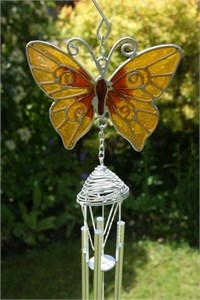 Yellow Butterfly Wind Chime