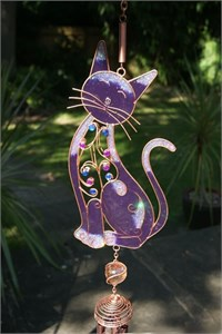 Jewelled Cat Wind Chime, purple