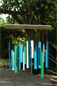 Rectangles Glass Wind Chime, Ocean