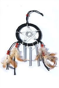 Star Dreamcatcher with Chimes, black