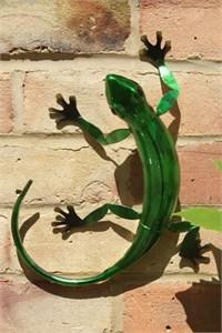 Green Metal Gecko, 27 cm