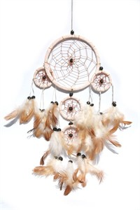 Five Hoops Dream Catcher, Cream (11 cm)