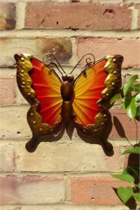Red and Yellow Glass Butterfly Wall Art