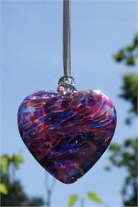 Blue-Pink Glass Heart, 8 cm