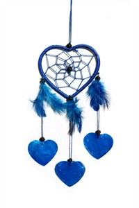 Little Heart Dream Catcher with Capiz, blue