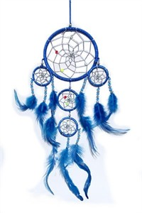 Dream Catcher with Silver Beads, blue (11.5 cm)