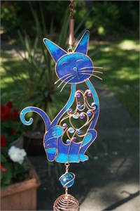 Jewelled Cat Wind Chime, blue