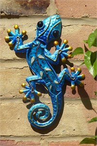Decorated Blue Glass Gecko, 21 cm