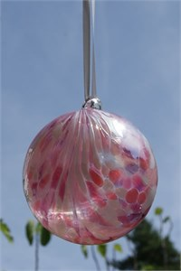 Flamingo Feathers Glass Ball, 10 cm