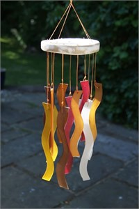 Wavy Glass Wind Chime, Beech wood