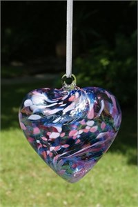 Blue-Pink Glass Heart, 12 cm