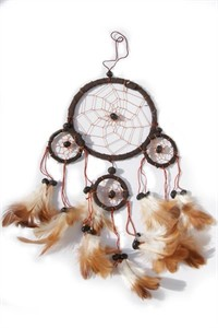 Four Hoops Dream Catcher, chocolate (11 cm)