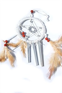 Star Dreamcatcher with Chimes, white