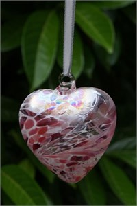Pastel Pink Glass Heart, 8 cm