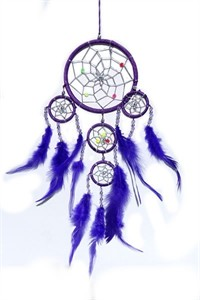 Dream Catcher with Silver Beads, purple (11.5 cm)