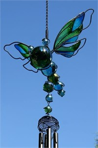 Green and Blue Dragonfly Wind Chime