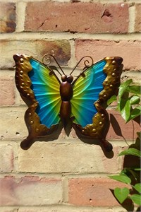 Yellow and Turquoise Glass Butterfly Wall Art